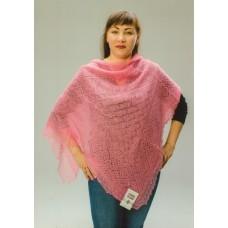 Платок пуховый ажурный, розовый